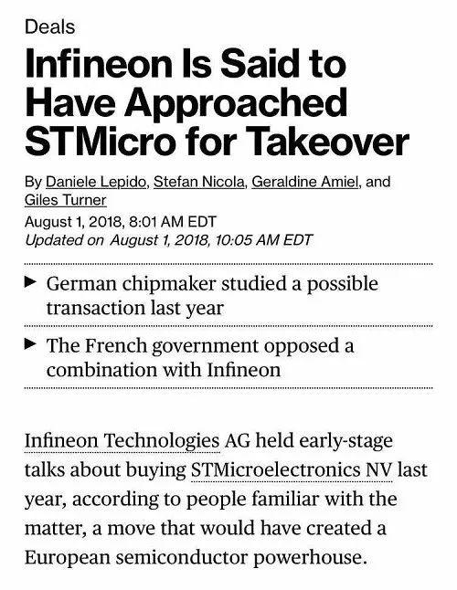 Figure. 2  Infineon Is Said to Have Approached STMicro for Takeover