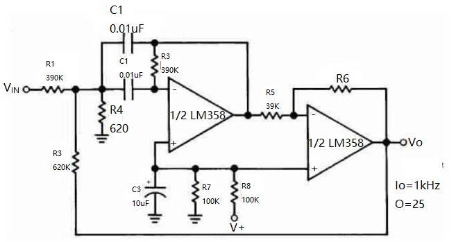 24 classic circuits consisting of bidirectional general purpose operational amplifier lm358